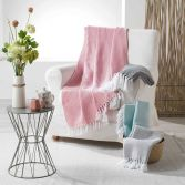 Merina Woven Cotton Geometric Throw with Tassels - Coral Pink