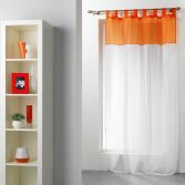 Duo Two-Tone Tab Top Voile Curtain Panel - White & Orange