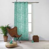 Eucalys Printed Eyelet Voile Curtain Panel - Mint Blue