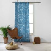 Eucalys Printed Eyelet Voile Curtain Panel - Navy Blue