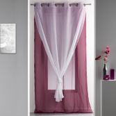 Duni Plain Double Voile Curtain Panel with Eyelets - Purple & White