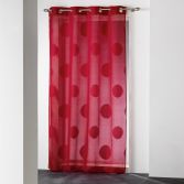 Odyssee Circles Voile Curtain Panel with Eyelets - Red
