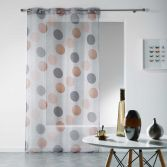Odaly Eyelet Voile Curtain Panel with Printed Circles - Grey & Copper