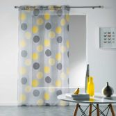 Odaly Eyelet Voile Curtain Panel with Printed Circles - Grey & Yellow