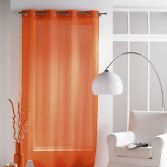 Paloma Eyelet Voile Curtain Panel with Crushed Look - Orange