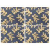 Sara Miller Etched Leaves Set of Four Large Placemats - Navy Blue