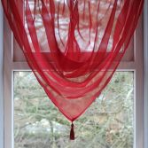 Plain Voile Tassle Swag - Red
