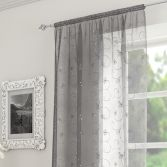 Ariana Floral Sequin Voile Slot Top Curtain Panel - Grey