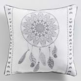 Reveline Printed Filled Cushion with Piping - White