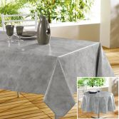 Beton Cire Plain PVC Tablecloth with Marble Effect - Grey