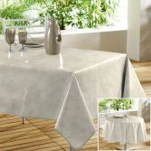 Beton Cire Plain PVC Tablecloth with Marble Effect - Beige