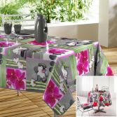 Orchids Photoprint PVC Tablecloth - Grey & Fuchsia Pink