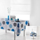 Odaly Tablecloth with Printed Circles - Grey & Blue