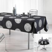Platine Tablecloth with Silver Prints - Black