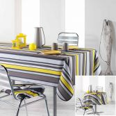Marina Printed Tablecloth - Grey & Yellow