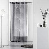 Spirale Printed Eyelet Voile Curtain Panel - Charcoal Grey