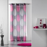 Tempo Eyelet Voile Curtain Panel with Circle Print - Grey & Pink