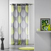 Tempo Eyelet Voile Curtain Panel with Circle Print - Grey & Lime Green