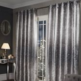 Glitter Crushed Velvet Fully Lined Ring Top Curtains - Silver Grey