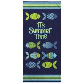 Nautical Colourful 100% Cotton Beach Towel - It's Summer Time