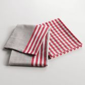 Chef Etoile Set of 2 Woven 100% Cotton Kitchen Towels - Natural & Red