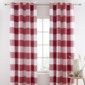 Catherine Lansfield Boston Check Fully Lined Eyelet Curtains - Red