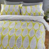 Catherine Lansfield Retro Leaves Duvet Cover Set - Ochre Yellow