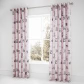 Catherine Lansfield Kids Woodland Friends Fully Lined Eyelet Curtains - Pink