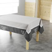 Bonheur Embroidered Tablecloth - Charcoal & Taupe