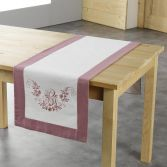 Bonheur Embroidered Table Runner - White & Pink