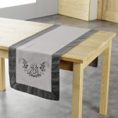 Bonheur Embroidered Table Runner - Charcoal & Taupe