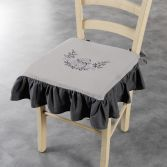 Bonheur Embroidered Chair Seat Pad with Frill - Charcoal & Taupe