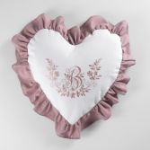 Bonheur Embroidered Heart Shaped Cushion with Frill - White & Pink