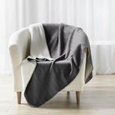 Tricoline Jersey Sherpa Throw with Plaid Pattern - Grey
