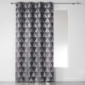 Frosty Geometric Eyelet Unlined Curtain Panel - Charcoal Grey