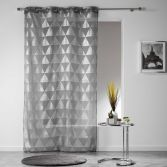 Frosty Geometric Eyelet Voile Curtain Panel - Charcoal Grey