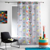 Geomix Eyelet Voile Curtain Panel - Grey Multi