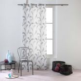 Kineo Floral Eyelet Voile Curtain Panel - Charcoal Grey