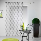Maiza Floral Eyelet Voile Curtain Panel - Charcoal Grey