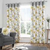 Adriana Floral Fully Lined Eyelet Curtains - Ochre Yellow