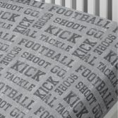 Football Theme Bed Fitted Sheet - Grey