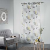 Mylae Floral Eyelet Voile Curtain Panel - Grey & Yellow