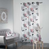 Mylae Floral Unlined Eyelet Curtain Panel - Grey & Pink