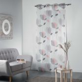 Mylae Floral Eyelet Voile Curtain Panel - Grey & Pink