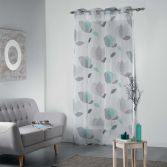 Mylae Floral Eyelet Voile Curtain Panel - Grey & Mint Blue