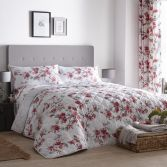 Suki Floral Quilted Bedspread - Red