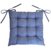 Chambray Newton Quilted Chair Seat Pad - Blue