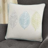Skandi Leaf Cushion Cover - Teal Blue