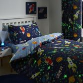 Supersonic Glow in the Dark Kids Duvet Cover Set - Blue