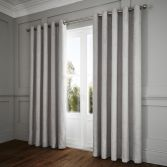 Portobello Geometric Weave Fully Lined Eyelet Curtains - Silver Grey